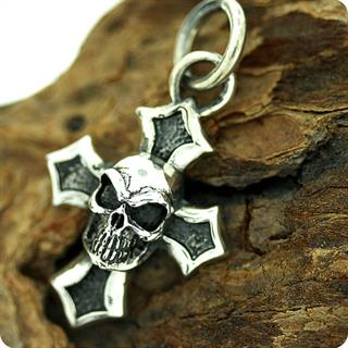 Sterling Silver Pendant , Skull  Cross