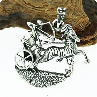 Egyptian Silver Pharaoh Ramses II War Horse Chariot Pendant