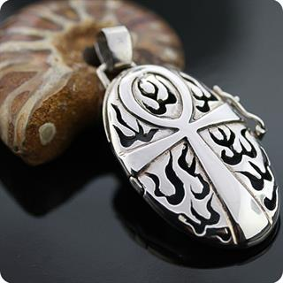 Egyptian Sterling Silver Ankh,Life Flame Locket  Pendant