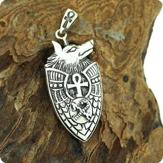 Ancient Egyptian Silver Jewelry- The Shield Of the God Anubis Pendant