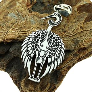 Luck ,Longevity and Fidelity, Asian Crane Silver Pendent