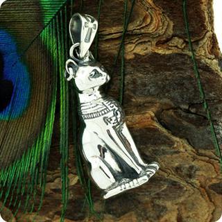 Egyptian Astrology Cat Goddess Silver Bastet Pendant