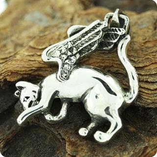 Egyptian Cat Goddess Angel Bastet  with Wings Silver Pendant