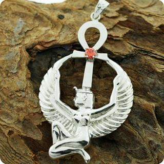Egyptian Astrology Goddess Isis w/ Heart of Ankh  Silver Pendant