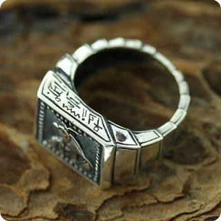 Vintage Egyptian the God of Sun, Amun Ra Silver Ring