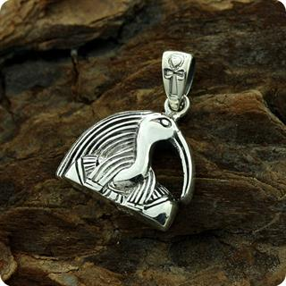 Egyptian Silver Portrait Pendant God Thoth M