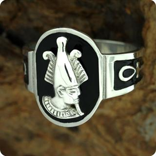 Egyptian Zodiac SIlver Jewelry Dead God Osiris w/ Ankh Ring