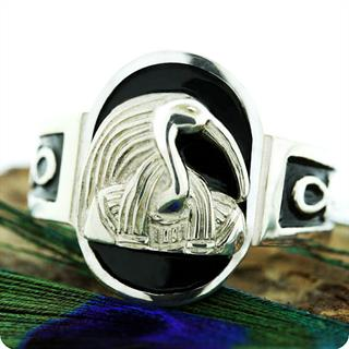 Egyptian Zodiac Silver Jewelry, Writing and Knowledge God Thoth Ring