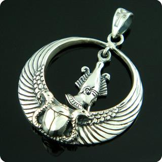 Egyptian Sterling Silver Royal Wadjet W/ Scarab Surround  Osiris Pendant