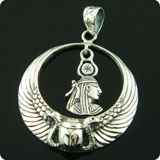 Egyptian Sterling Silver Royal Wadjet W/ Scarab Surround  Maat Pendant