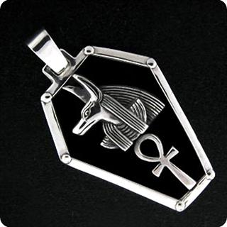 Egyptian Silver Jewelry God Anubis Ankh Shield Pendant