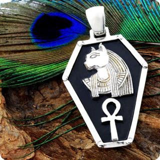 Egyptian Silver Jewelry God Bastet Ankh Shield Pendant