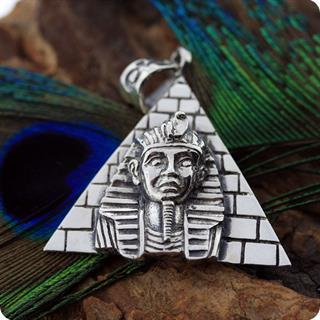 Egyptian Silver Pharaoh Tut Portrait Pyramid ,High Relief Pendant