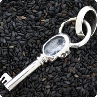 Sterling Silver Pendant Mystery Key of Skull