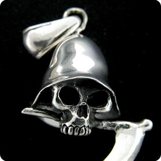Sterling Silver Grim Skull With Spectre Of Death Jewelry Pendant