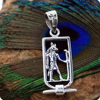 Egyptian Silver Jewelry Cartouch God Anubis Pendant