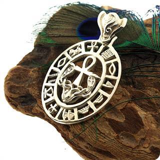 Egyptian Silver Jewelry Goddess Wadjet Uraeus Cobra, Ankh Hollow Pendant