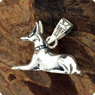 Egyptian Silver Jewelry God Anubis Pendant