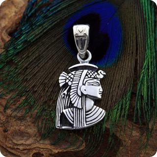 Egyptian Cat Goddess Isis Charm Silver Pendant