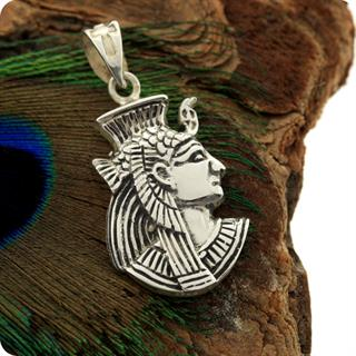 Egyptian Silver Jewelry Goddess Isis Portrait Pendant