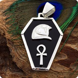 Egyptian Silver Jewelry Sky God Horus Shield Pendant
