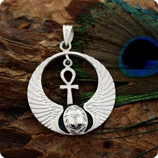 Egyptian Silver Pendant Winged Cobra W/ Lotus And Scarab