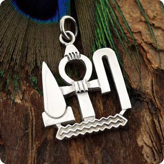 Sterling Silver Jewelry Ankh Wedja Seneb Symbol Pendant Egyptian Symble
