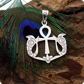 Sterling Silver Jewelry Ankh Snake Serpent Symbol Pendant