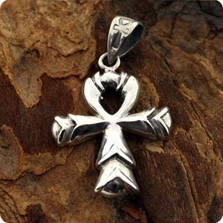 Sterling Silver Lotus Ankh Pendant