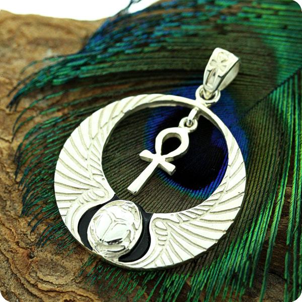 Mojoii egyptian silver pendant winged cobra lotus scarab egyptian silver pendant winged cobra w lotus and scarab aloadofball Choice Image
